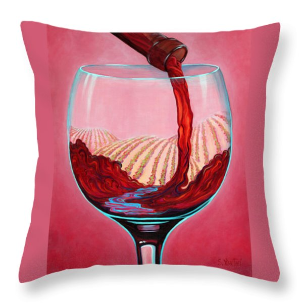 ...and Let There Be Wine Throw Pillow by Sandi Whetzel