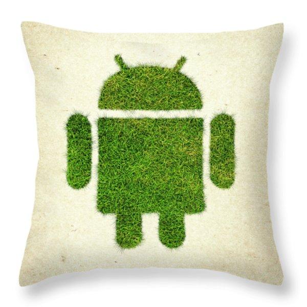Andoird Grass Logo Throw Pillow by Aged Pixel