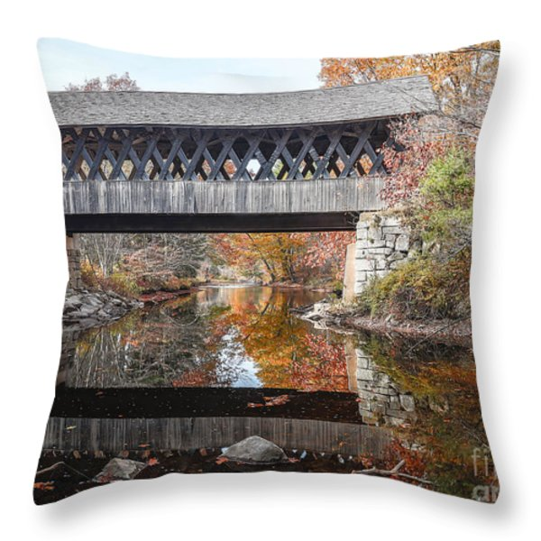 Andover Covered Bridge Throw Pillow by Edward Fielding