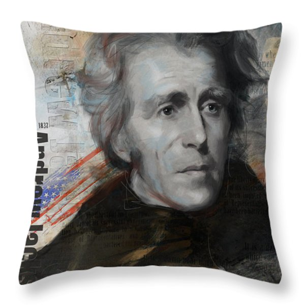 Andrew Jackson Throw Pillow by Corporate Art Task Force