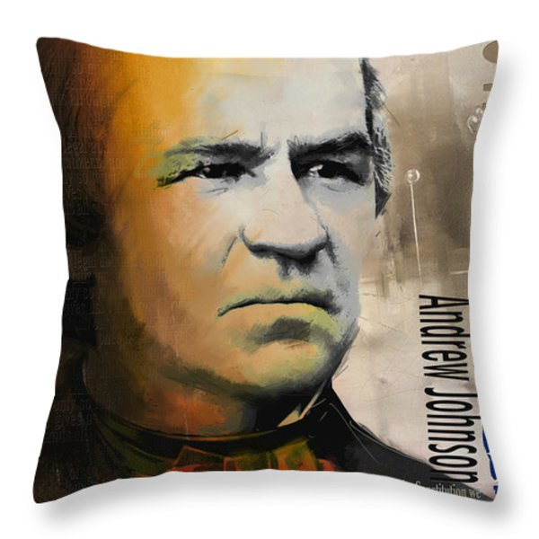 Andrew Johnson Throw Pillow by Corporate Art Task Force