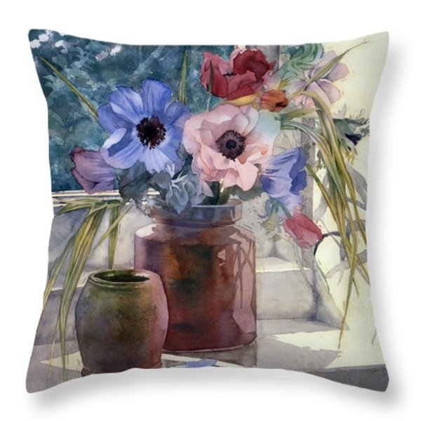 Anemones Throw Pillow by Julia Rowntree