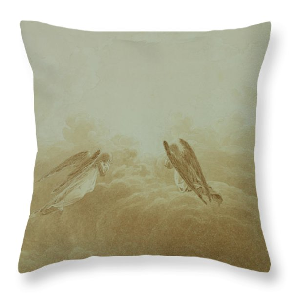 Angel In Prayer Throw Pillow by Caspar David Friedrich