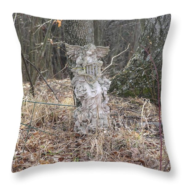 Angel In The Woods Throw Pillow by Marisa Horn