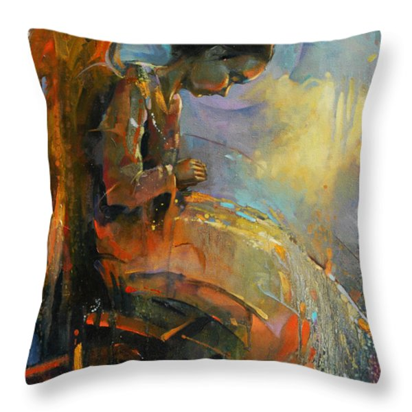 Angel Meditation Throw Pillow by Michal Kwarciak