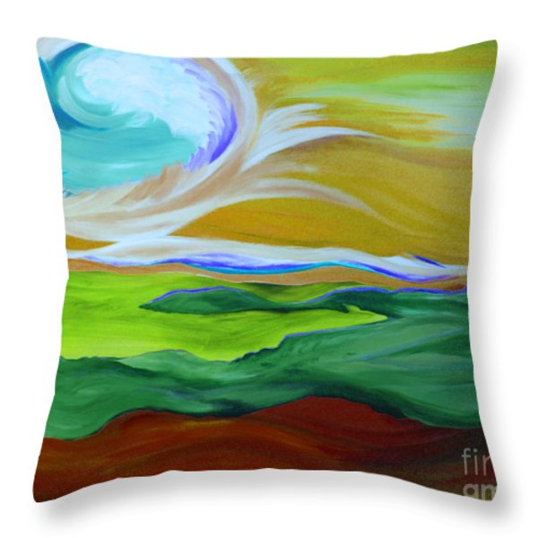Angel Sky Green By Jrr Throw Pillow by First Star Art