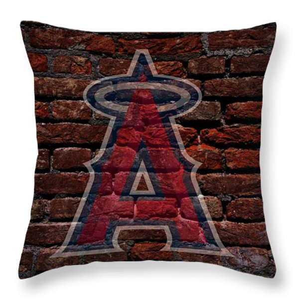 Angels Baseball Graffiti on Brick  Throw Pillow by Movie Poster Prints