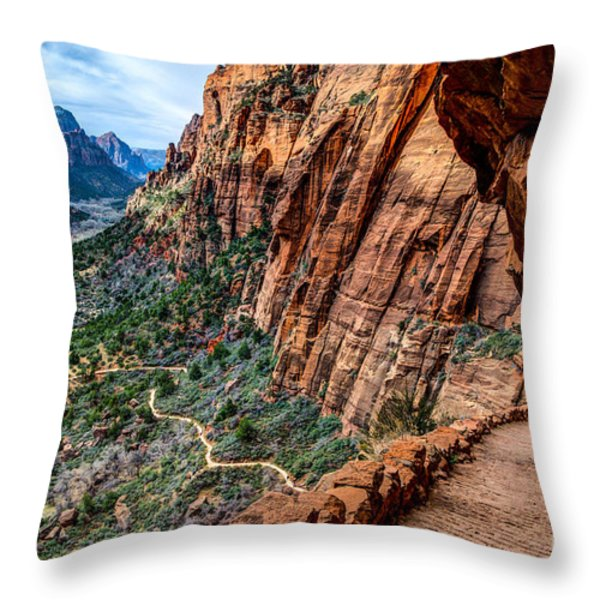 Angels Landing Trail from High Above Zion Canyon Floor Throw Pillow by Gary Whitton