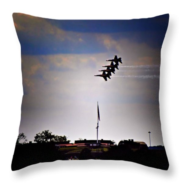 Angels Over Ft. Mchenry 2 Throw Pillow by Robert McCubbin