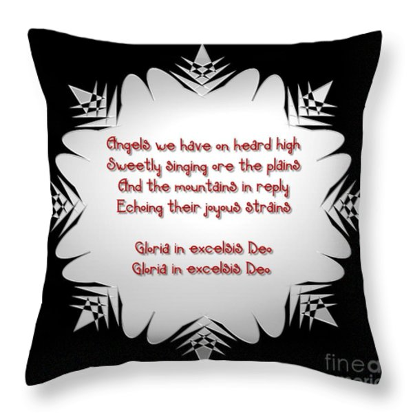 Angels we have heard on high Snowflake Throw Pillow by Rose Santuci-Sofranko