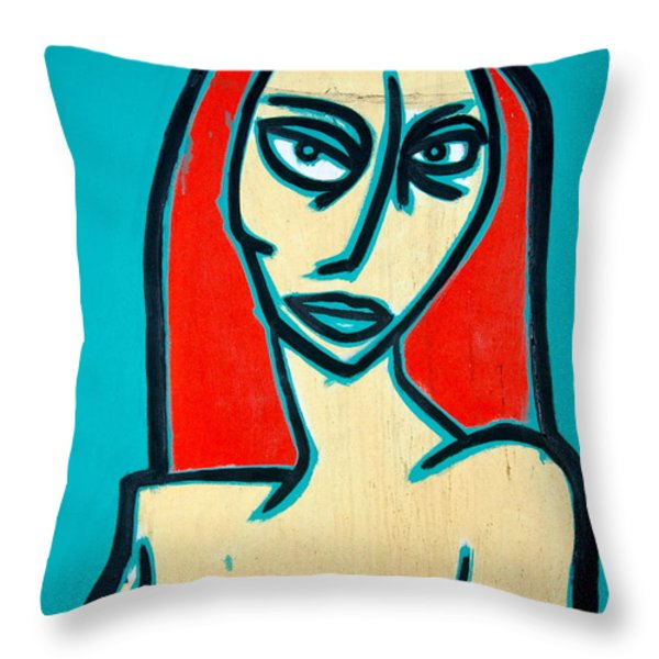 Angry Jen Throw Pillow by Thomas Valentine