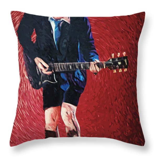 Angus Young Throw Pillow by Taylan Soyturk