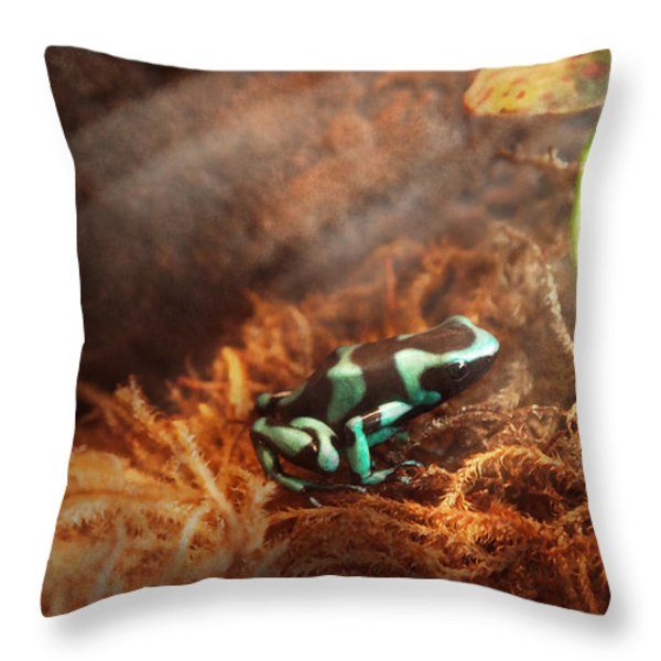 Animal - Frog - Lick The Green Frog Throw Pillow by Mike Savad