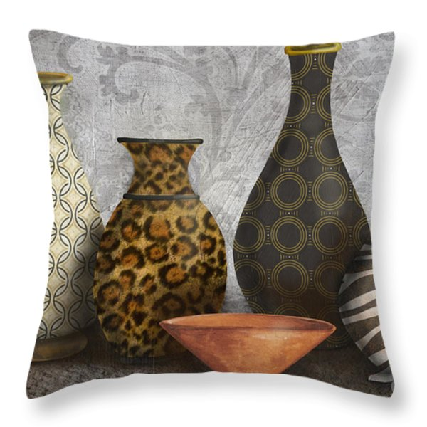 Animal Print Vase Still Life-A Throw Pillow by Jean Plout