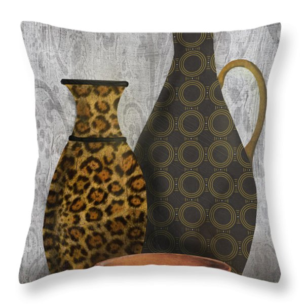 Animal Print Vase Still Life-b Throw Pillow by Jean Plout