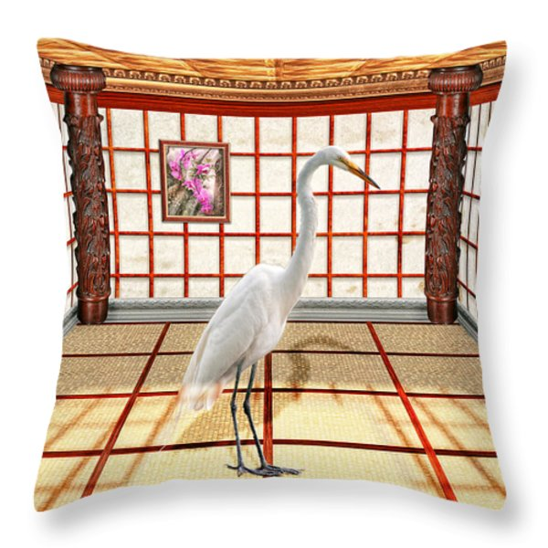 Animal - The Egret Throw Pillow by Mike Savad