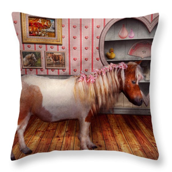 Animal - The Pony Throw Pillow by Mike Savad