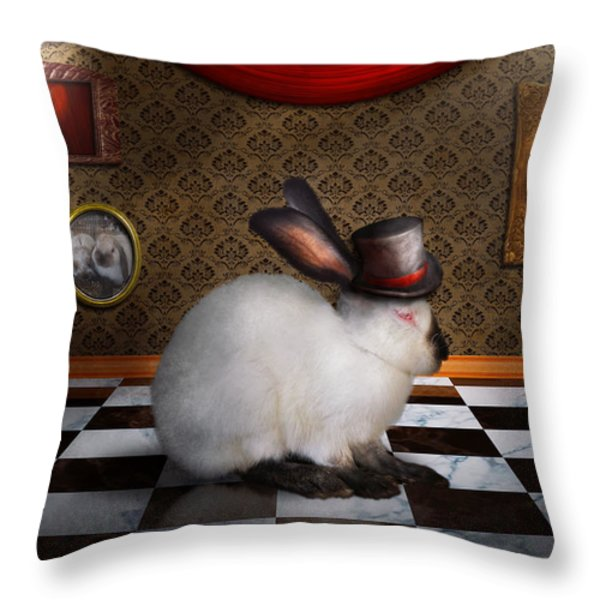 Animal - The Rabbit Throw Pillow by Mike Savad