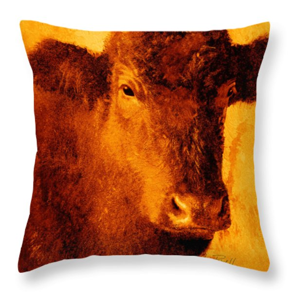 animals- cows- Brown Cow Throw Pillow by Ann Powell