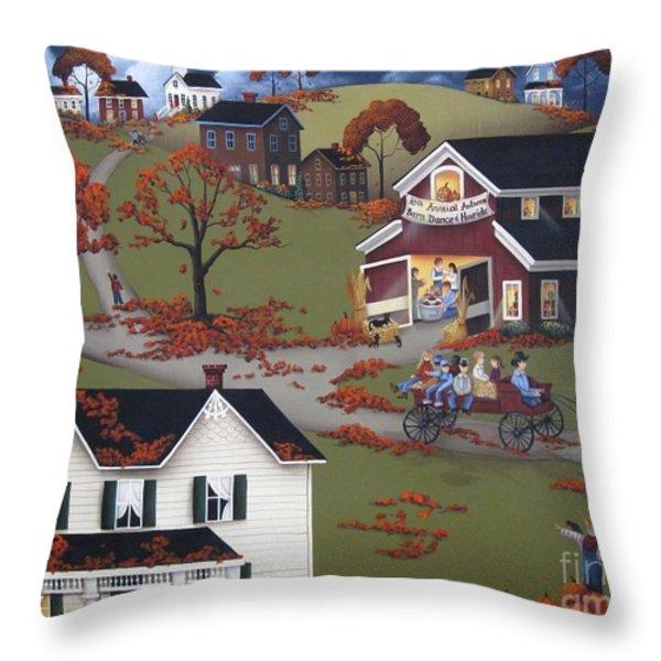 Annual Barn Dance And Hayride Throw Pillow by Catherine Holman