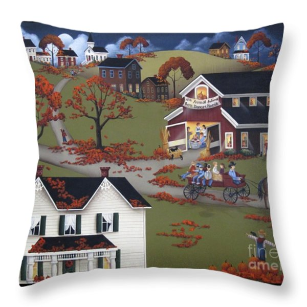 Annual Barn Dance and Hayride Throw Pillow by Catherine Holman