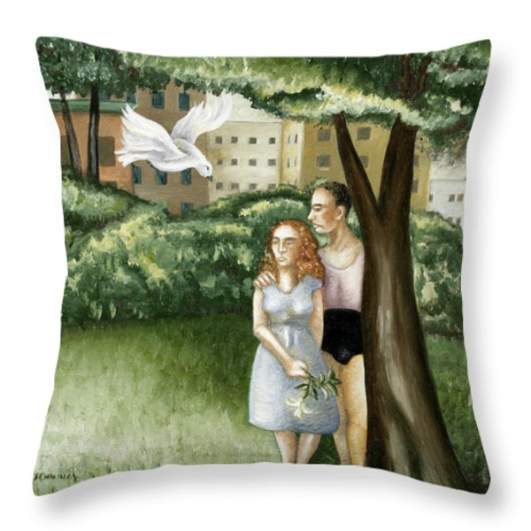 Annunciation With Burning Building Throw Pillow by Caroline Jennings