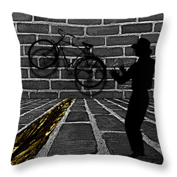 Another Bike on the Wall Throw Pillow by Barbara St Jean