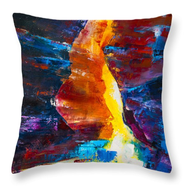 Antelope Canyon Light Throw Pillow by Elise Palmigiani