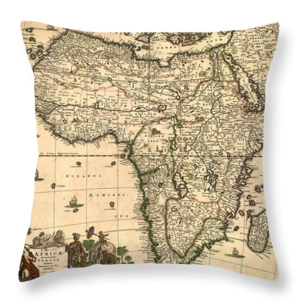 Antique Africa Map Throw Pillow by Gary Grayson