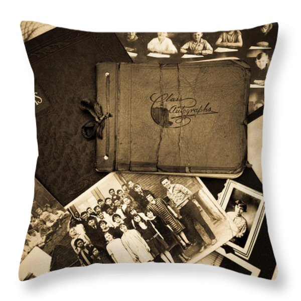 Antique Autograph and Photo Albums and Photos Throw Pillow by Amy Cicconi