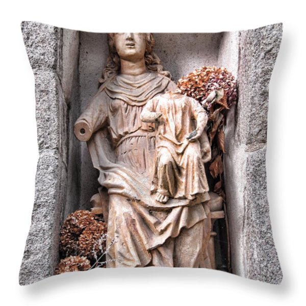 Antique Blessed Virgin Statue Throw Pillow by Olivier Le Queinec