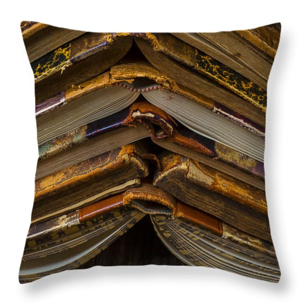Antique Books Throw Pillow by Garry Gay