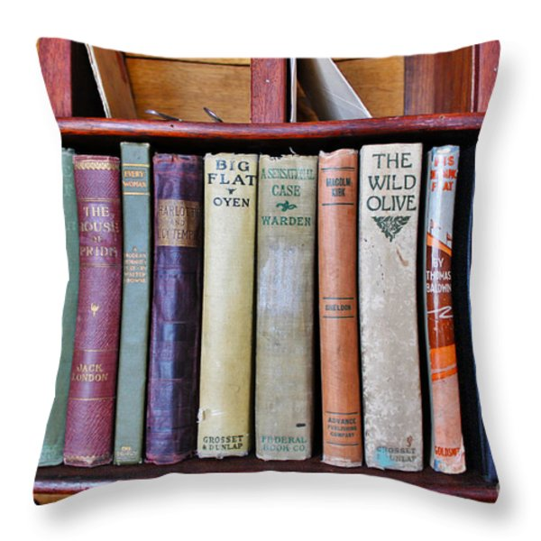 Antique Books On Shelf From 1860 Throw Pillow by Janice Rae Pariza
