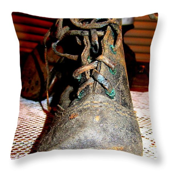 Antique Boots Throw Pillow by Danielle  Parent
