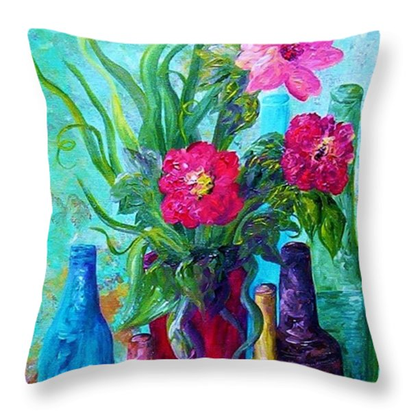 Antique Bottles And Flowers Throw Pillow by Eloise Schneider