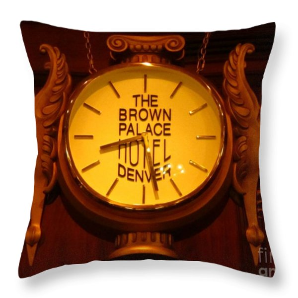 Antique Clock At The Bown Palace Hotel Throw Pillow by John Malone