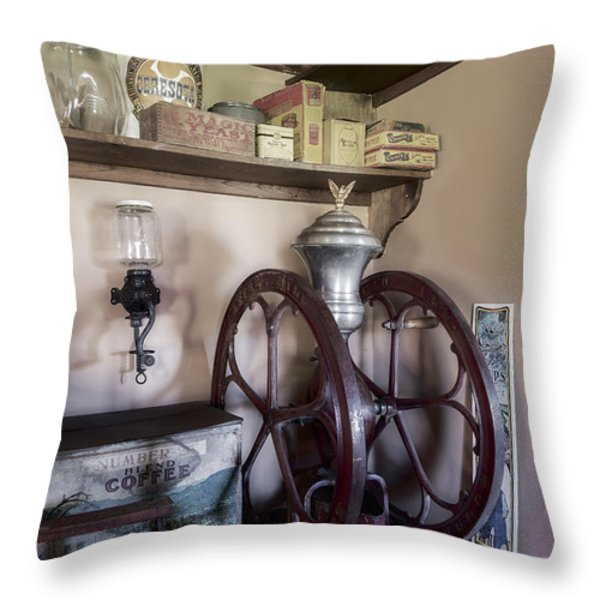 Antique Coffee Mill Throw Pillow by Susan Candelario