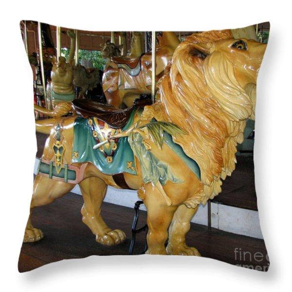 Antique Dentzel Menagerie Carousel Lion Throw Pillow by Rose Santuci-Sofranko