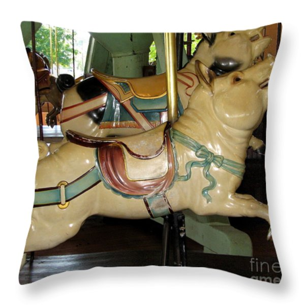 Antique Dentzel Menagerie Carousel Pigs Throw Pillow by Rose Santuci-Sofranko
