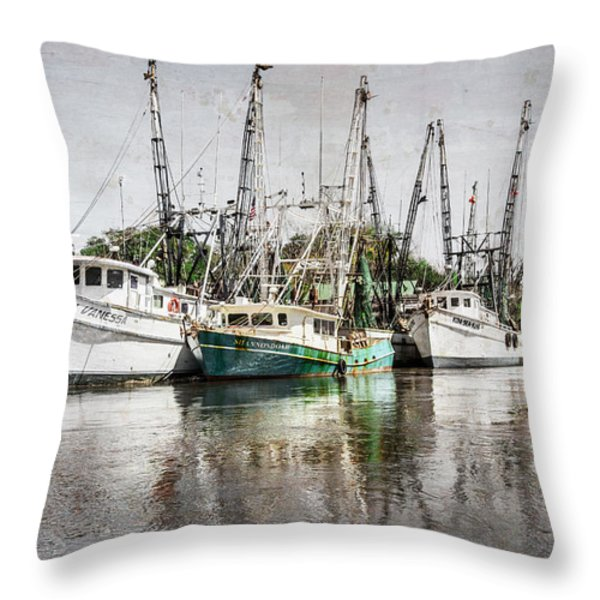 Antique Fishing Boats Throw Pillow by Debra and Dave Vanderlaan