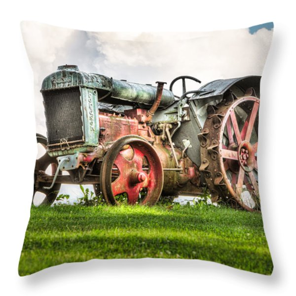 Antique Fordson Tractor - Americana Throw Pillow by Gary Heller