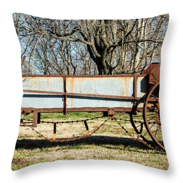 Antique Hay Bailer 2 Throw Pillow by Douglas Barnett