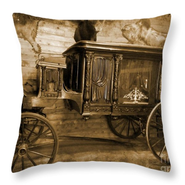 Antique Hearse as Tintype Throw Pillow by Crystal Loppie