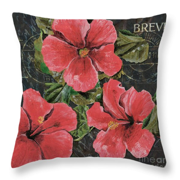 Antique Hibiscus Black 3 Throw Pillow by Debbie DeWitt