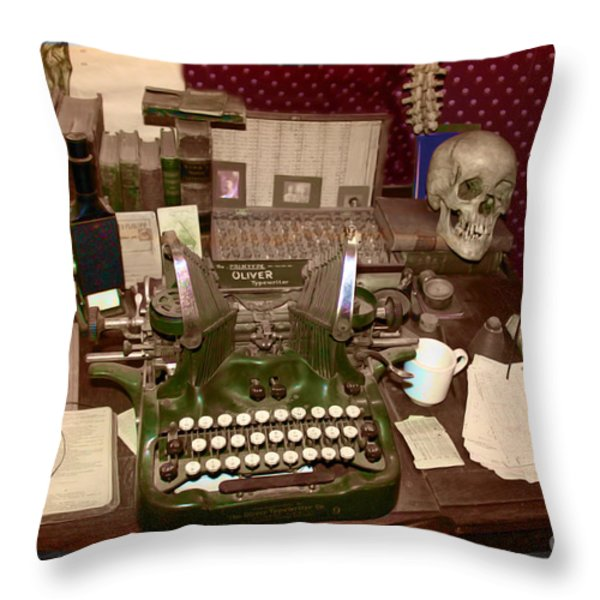 Antique Oliver Typewriter on Old West Physician Desk Throw Pillow by Janice Rae Pariza