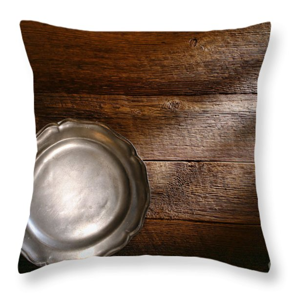 Antique Pewter Plate Throw Pillow by Olivier Le Queinec