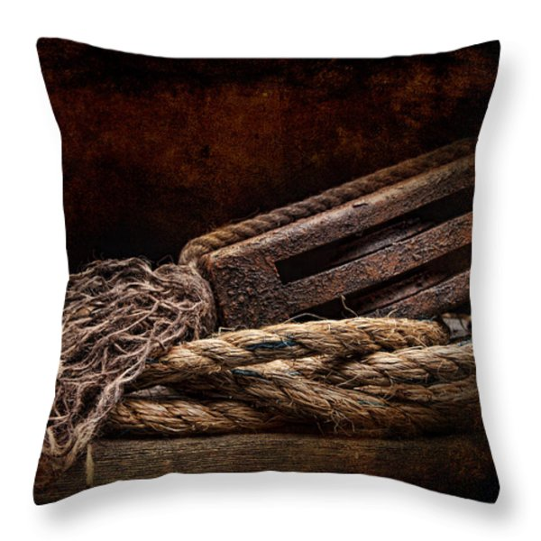 Antique Pulley Throw Pillow by Tom Mc Nemar