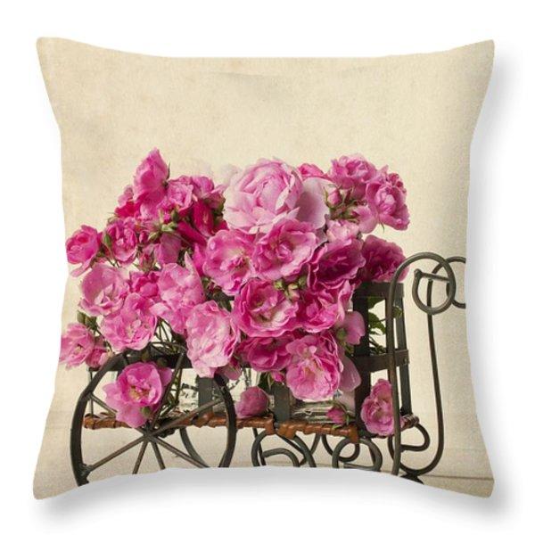 Antique Rose Cart Throw Pillow by Edward Fielding