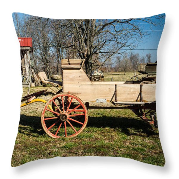 Antique Wagon and Mountain Cabin 1 Throw Pillow by Douglas Barnett