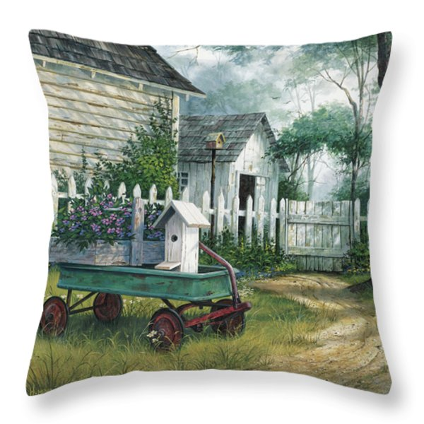 Antique Wagon Throw Pillow by Michael Humphries
